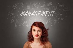 Girl with managerial task concept stock photo