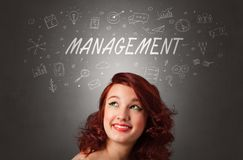 Girl with managerial task concept royalty free stock images