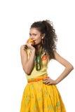 Girl with mandarin Royalty Free Stock Image