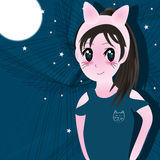 Girl manga cat Stock Photo