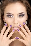 The girl with manicure Royalty Free Stock Photography