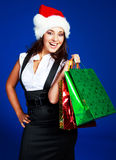 Girl with many bags Stock Photos