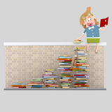 Girl with many books reading on a wall Stock Photography