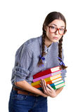 Girl with  many books Stock Images