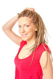 Girl many plaits hairstyle Stock Images