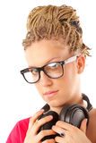 Girl many plaits hairstyle with headphones Royalty Free Stock Photo