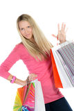 Girl with many shopping bags Royalty Free Stock Images