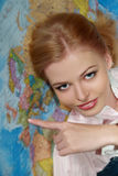 Girl with map Royalty Free Stock Photo