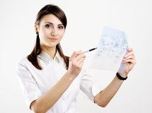 Girl with map Stock Photography