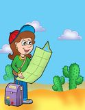 Girl with map outdoor. Color illustration Stock Photography
