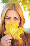 Girl with maple leaf Royalty Free Stock Photography