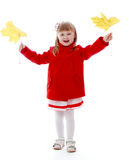 Girl with maple leaf Royalty Free Stock Photos