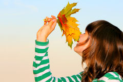 Girl with maple leaves Royalty Free Stock Photos