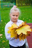 Girl with maple leaves. Girl with a bunch of yellow, autumn leaves royalty free stock image