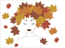 Girl and maple leaves Stock Photo