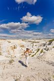 The girl in marble quarry, manufacture of marble products Stock Images