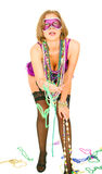 Girl In Mardi Gras Giving Beads Royalty Free Stock Image