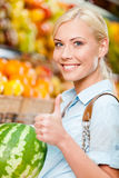 Girl at the market choosing fruits hands watermelon Stock Images