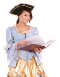 Girl  in marquise dress and hat read book. Royalty Free Stock Images