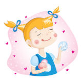 Girl With Marshmallow Stock Images