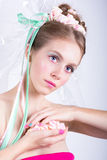Girl with marshmallow, makeup style beauty fantasy. Royalty Free Stock Images