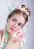 Girl with marshmallow, makeup style beauty fantasy. Royalty Free Stock Image