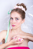 Girl with marshmallow, makeup style beauty fantasy. Stock Photography