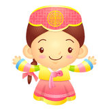 Girl mascot the direction of pointing with both hands. Korea Tra Stock Images