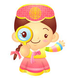 Girl mascot examine a with a magnifying glass. Korea Traditional Stock Photos