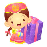 Girl Mascot the hand is holding a big box. Korea Traditional Cul Royalty Free Stock Images