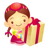 Girl Mascot the hand is holding a big box. Korea Traditional Cul Stock Image