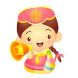 Girl Mascot the hand is holding a loudspeaker. Korea Traditional Stock Photo
