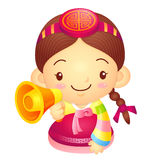 Girl Mascot the hand is holding a loudspeaker. Korea Traditional Royalty Free Stock Images