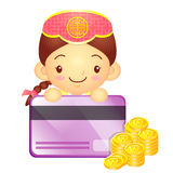 The Girl Mascot is holding a big credit card. Korea Traditional Stock Photography