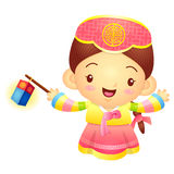 The Girl Mascot is holding a lantern Building. Korea Traditional Royalty Free Stock Photography
