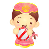 Girl mascot holding a traffic signal is prohibited signs. Korea Royalty Free Stock Photography