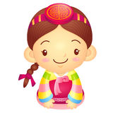 Girl Mascot is a polite greeting. Korea Traditional Cultural cha Royalty Free Stock Images