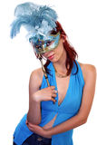 Girl with mask. Portrait girl with mask on white background Stock Photos