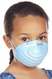 Girl with mask. A pretty girl with a blue mask isolated over white Royalty Free Stock Image