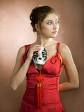 Girl with mask Royalty Free Stock Photography