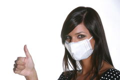 Girl with mask against swine flu. Stock Images