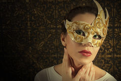 Girl in mask. Beautiful girl in mask vintage Stock Photo