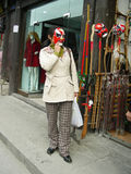 Girl and Mask of Beijing Opera stock photos