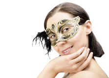 Girl in mask carnival Royalty Free Stock Image