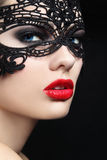 Girl in mask. Close-up portrait of young beautiful stylish woman in black lacy mask stock photos