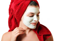 The girl in a mask for the face Stock Images