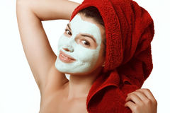 The girl in a mask for the face Stock Photography