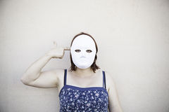 Girl mask fear Royalty Free Stock Photography