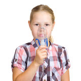 The girl with a mask for inhalations stock photos