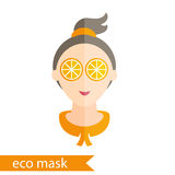 Girl with mask of orange on her eyes. Stock Images
